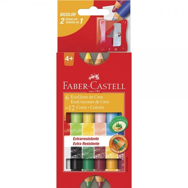Ecogiz De Cera Bicolor 12 Cores - Faber-Castell