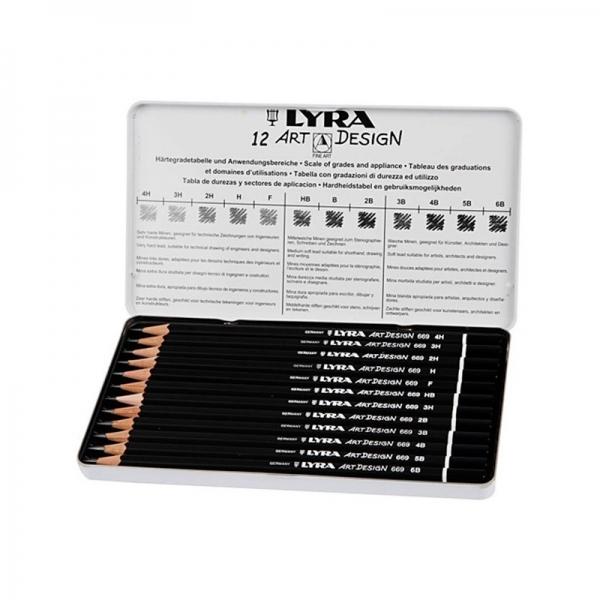 Lápis Graduado Rembrandt Art Design Estojo Metálico com 12 unidades - Lyra
