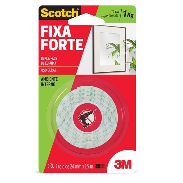 Fita Fixa Forte de Espuma Uso Interno 24mm x 1,5m - 3M