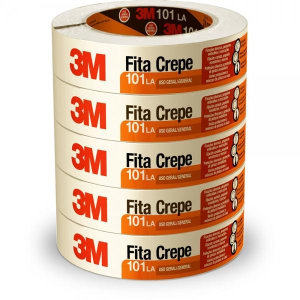 Pacote com 5 rolos de Fita Crepe 101LA   24mm x 50m - 3M