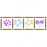 Stencil 16cm x 5cm  Quadro com Flores - Acrilex