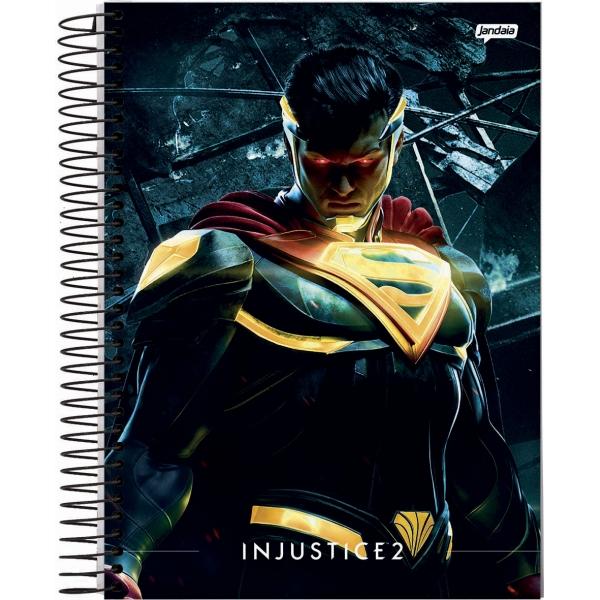 Caderno Universitário Capa Dura Injustice - 10 Matérias - 200 Folhas - Jandaia