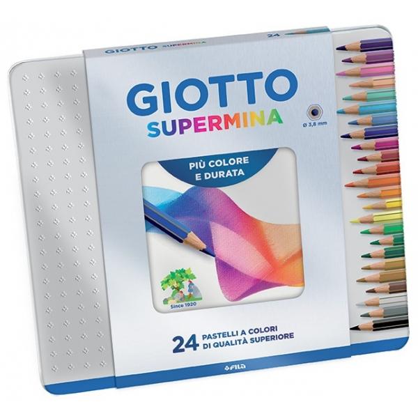 Lápis de Cor Supermina 24 Cores Estojo Lata - Giotto