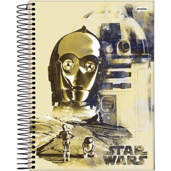 Caderno Universitário Capa Dura Star Wars - 1 Matéria - 96 Folhas - Jandaia