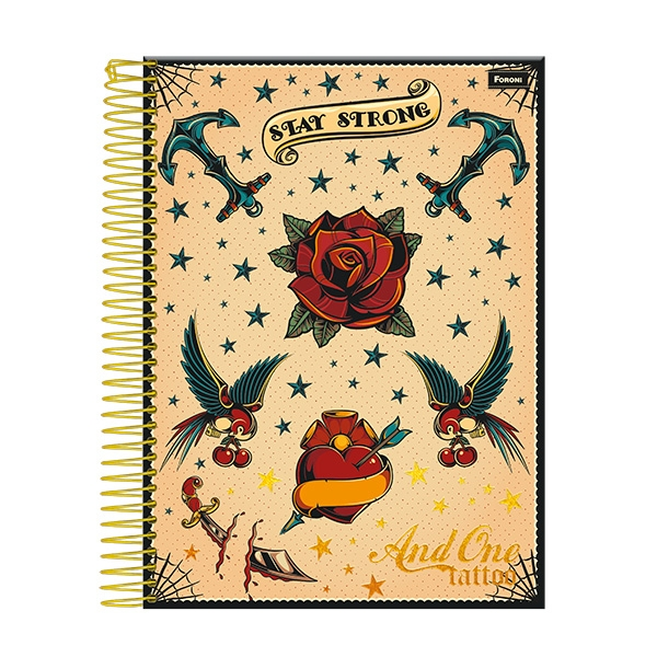 Caderno Universitário Capa Dura And One Tattoo - 10 Matérias - 200 Folhas - Foroni