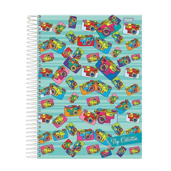 Caderno Universitário Capa Dura Pop Collection - 10 Matérias - 200 Folhas - Foroni