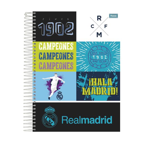 Caderno Universitário Capa Dura Real Madrid - 10 Matérias - 200 Folhas - Foroni