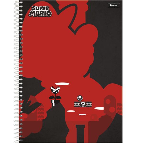 Caderno Universitário Capa Dura Super Mario - 1 Matéria - 96 Folhas - Foroni