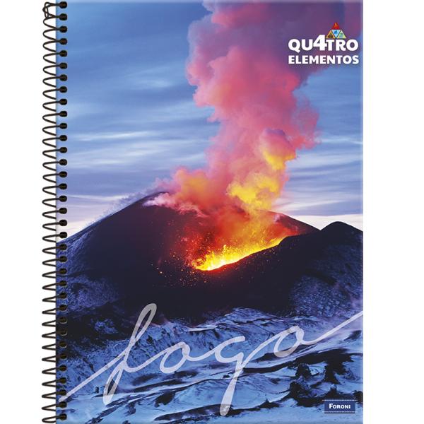 Caderno Universitário Capa Dura 4 Elementos - 1 Matéria - 96 Folhas - Foroni