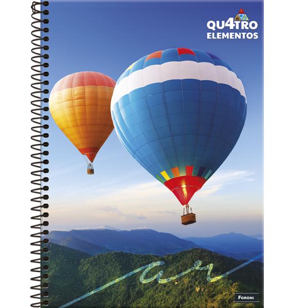 Caderno Universitário Capa Dura 4 Elementos - 10 Matérias - 200 Folhas - Foroni