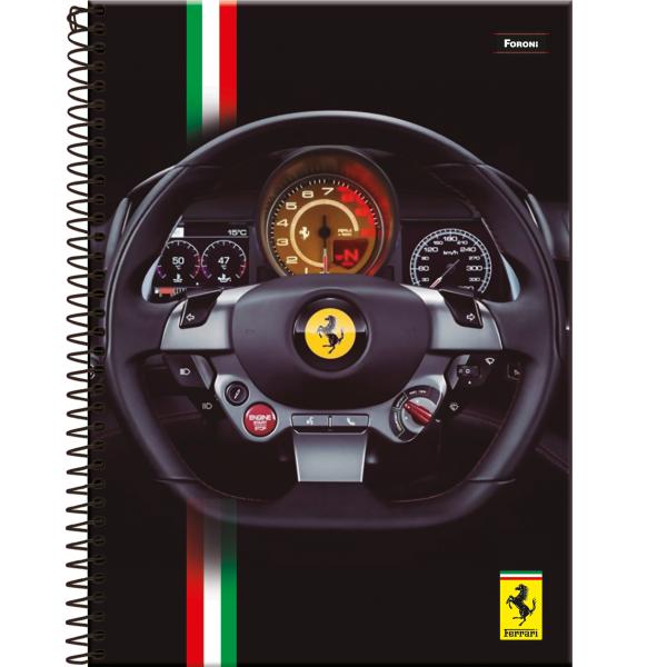 Caderno Universitário Capa Dura Ferrari - 1 Matéria - 96 Folhas - Foroni