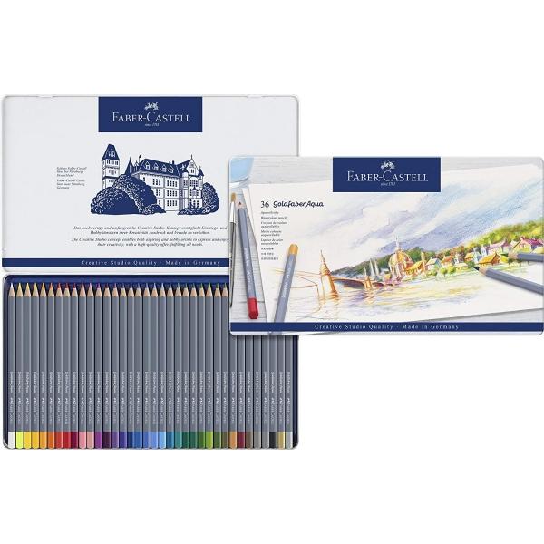 Lápis de Cor Aquarelável Goldfaber Aqua Estojo Metálico com 36 cores - Faber-Castell