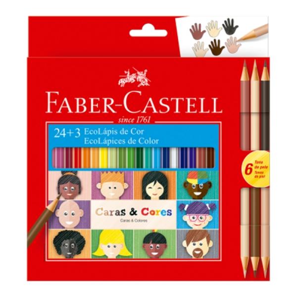 Ecolápis de Cor 24 Cores + 3 Cores Caras & Cores - Faber-Castell