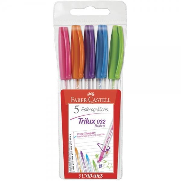 Caneta Esferográfica Trilux Colors  5 cores - Faber-Castell