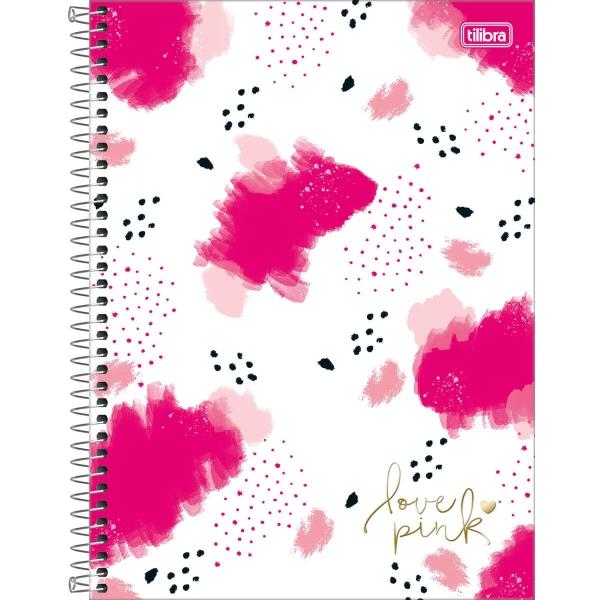 Caderno Universitário Capa Dura Love Pink - 10 Matérias - 160 Folhas - Tilibra