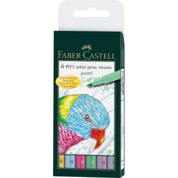 Estojo com 6 Canetas Pitt Brush Ponta Pincel - Faber-Castell