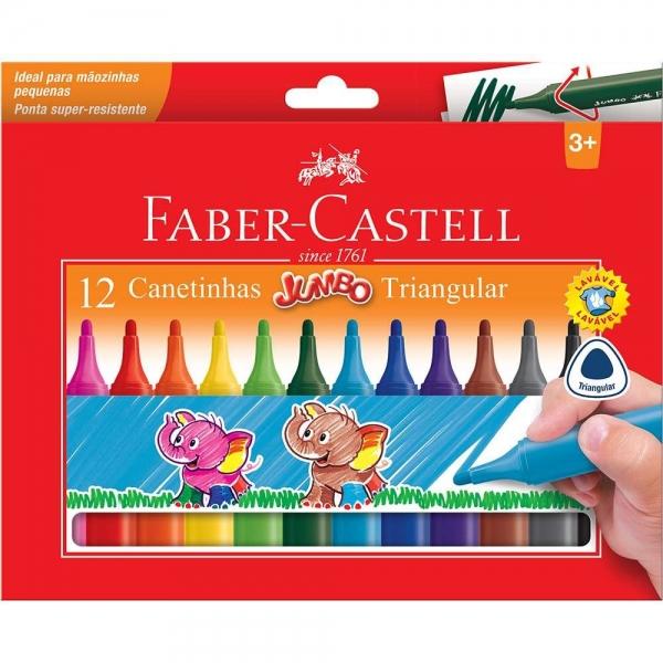 Canetinha Hidrográfica Jumbo Triangular 12 Cores - Faber-Castell