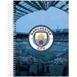 Caderno Universitário Capa Dura Manchester City - 10 Matérias - 200 Folhas - Jandaia